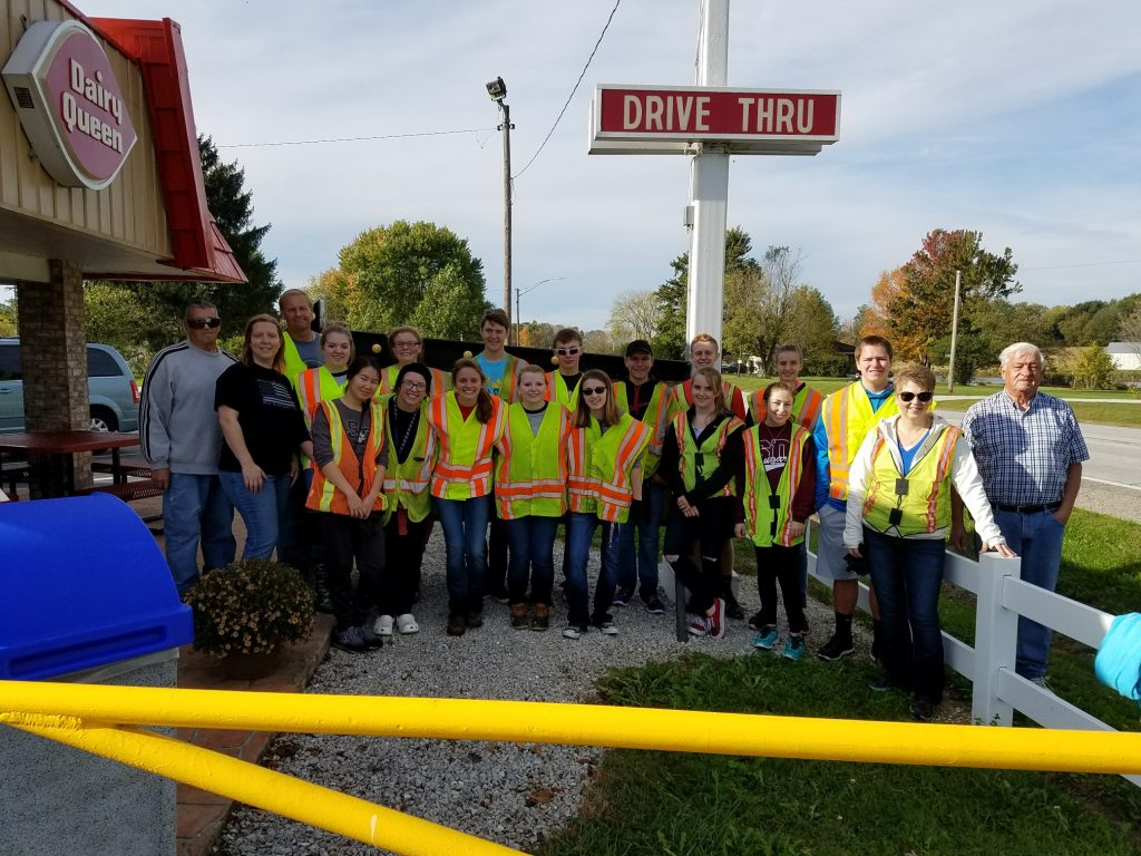 Members of the Highway Cleanup standing outside of Dairy Queen